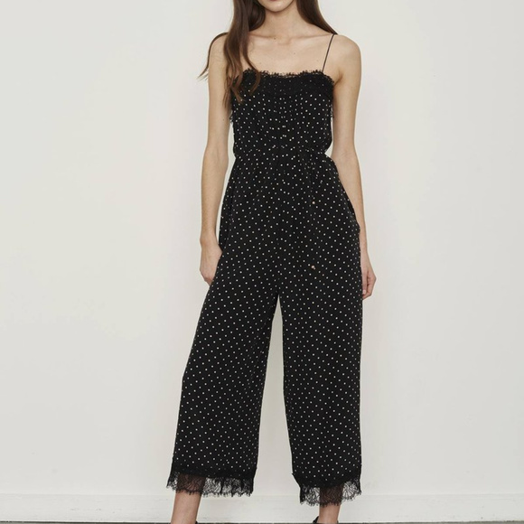 d82fb92670 Zimmermann Lace-Trimmed Dot Black Jumpsuit. M 5ab7b4da3a112ebf19e8b351